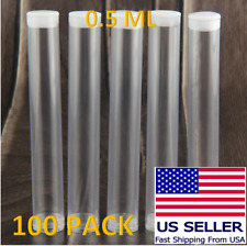 100 Pack 0.5ML Plastic Clear Craft Storage Tubes Container Cartridge Packaging