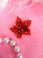JB70 Star Applique 1 Inch Red Sequin Beaded Independence Patriotic