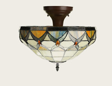 Rustic Stained Glass Tiffany Ceiling Lamp for Dining Room, Indoor Light Fixture