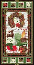 Country Holiday Skates Sleigh Wreath Christmas Timeless Treasures Fabric Panel