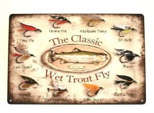 New Classic Wet Trout Fly Fishing Tin Sign Vintage Style Bait Shop Man Cave Art