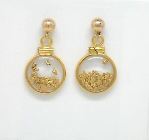 Genuine natural gold nuggets in 14k yellow gold filled dangle earring New