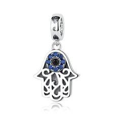 925 Sterling Silver Hamsa Hand Lucky Evil Eye Charm Beads fit Bracelet/Necklace
