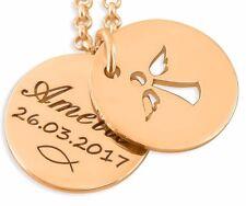 Schutzengelkette rosé vergoldet, Kette mit Engel, Namenskette, Tauffisch