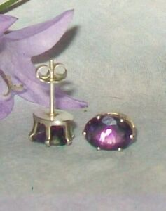 Sterling Silver High End Natural Amethyst Gemstone Earrings piercd ear February