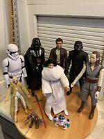 """Lot Of 9 Star Wars Figures 12"""" Darth Vader R2D2 Princess Leia Snoke"""