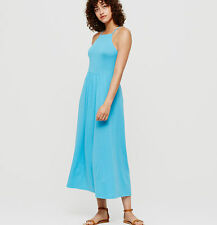 NWT Ann Taylor Loft Lou & Grey Cyan Blue Cutaway Midi Soft Jersey Dress $79 XS