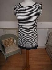 Stripy long T-shirt top tunic top dark grey / charcoal grey x white size 12
