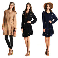 VELEZRA Womens Embroidered Crinkle Crepe Pleated Flowy Long Sleeve Dress S M L
