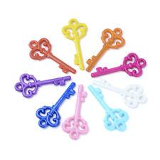 BULK Charms Key Pendants Acrylic Big Keys Steampunk Love Rainbow Assorted 20pcs