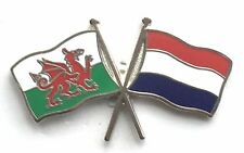 Wales & Netherlands Flags Friendship Courtesy Enamel Lapel Pin Badge