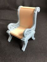 Fisher-Price Loving Family Blue Gray Scrolled Arm Tan Chair Dollhouse 1:12