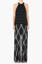 New SASS & BIDE Kick It Out Black Tonal Stripe Sleeveless Swing Top AU8 $330