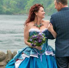 17th C bustled period costume corset Scot Outlander Tartan wedding dress 14-16