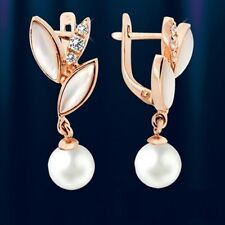 Russische Ohrringe Hänger mit Perlmutt Perlen Zirkonia Rose Rotgold 585 Neu