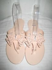 Salvatore Ferragamo Pandy Beige Nude Jelly Thong Bow Sandals Shoes Women's Sz 7.