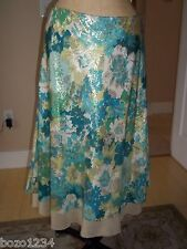 BN PETER SOM SZ 8 SILK BROCADE SKIRT BLUE GRN METALLIC GOLD FLIRTY RETAIL$ 915 *