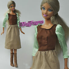 New Cute Mini Dress(Brown&Green) for Barbie&Disney Doll(Second free shipping)