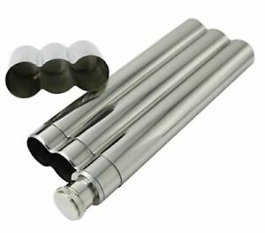 Cigar 2oz Flask +2 No Crush Tubes Stainless Steel Travel Carry Case Drink Holder