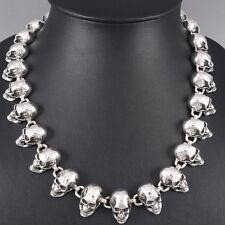 """20"""" 160g HEAVY SKULL SKELETON 925 STERLING SOLID SILVER MENS NECKLACE CHAIN pre"""