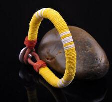 S471 Surfer Cotton Wrap Leather Men's Leather Wristband Bracelet Cuff Yellow B