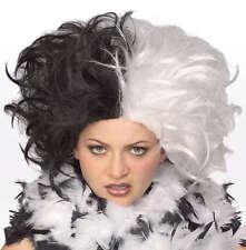MS SPOT WIG HALF BLACK & WHITE CRUELLA DE VIL 101 DALMATIANS ADULT COSTUME WIG
