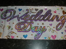 metallic wedding day banner,   9ft long