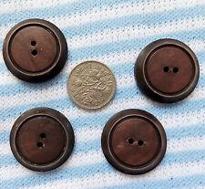 4 vintage brown buttons Bakelite? Art Deco  1 inch (25 mm)