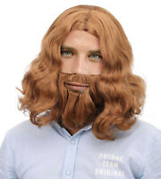 Men's Fashion Jesus + Beard Wigs Halloween Cosplay Costume Full Hair Wavy Wigs