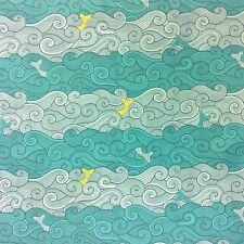 MM106 Moby Dick Whale Fish Ocean Wave Mermaid Tail Cartoon Cotton Quilt Fabric