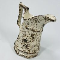 "Vintage Brown & White Sponge Ware Crock Small Pitcher 5"" TALL (SHLF)"