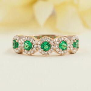 Genuine Emerald & Diamond Wedding Ring. 14K Solid Gold Women's Round Cut Band
