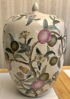 """VINTAGE CHINESE PAINTED PORCELAIN 12.5""""X8"""" GINGER JAR WHITE FAMILLE PLUM TREE"""