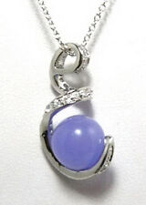 Purple Jade Beads Crystal S Snake White Gold Plated Pendant & Necklace