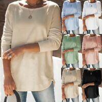 Women Long Sleeve O Neck Loose Blouse Ladies Casual Jumper Tunic Tops T Shirt UK