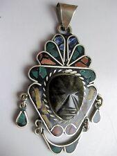 Vintage 925 Sterling Silver Gemstone Large Obsidian MASK PENDANT - Mexico