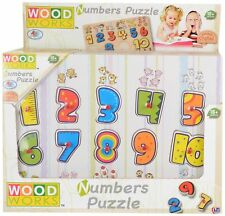 123 Numbers Wooden Letters Jigsaw Learning Educational Puzzle Children Kids Toys