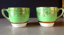 Salem China Company 'Aristocrat' Pair of Demitasse Cups Green w/ 23K Gold Trim