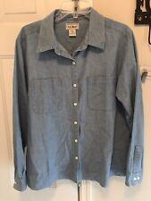 Ll Bean Women's Blue Denim Cotton Long Sleeve Shirt Blouse Size Large