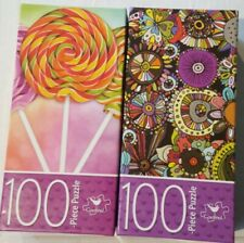 2 Cardinal Puzzles Flower Doodles and Three Lollipops 100 Pieces Jigsaw Puzzle