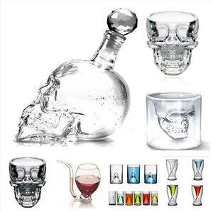 Creative Crystal Skull Shark Vodka Whiskey Wine Shot Bar Glass Bottle Cup CN
