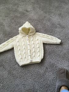 hand knitted baby aran Hooded Jacket