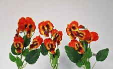 Pack of 3 Artificial Pansy Spray Orange 43 cm - Spring Summer Fake Flower Stem