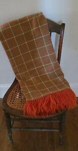 """Vintage Wool Blanket Throw Brown Orange Cream Plaid With Fringe 54"""" X 63"""""""