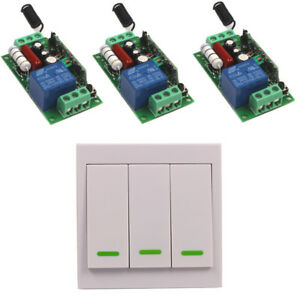 110V 220V 10A Relay Family Wireless Wall Remote Switch Transmitter+3 Receiver