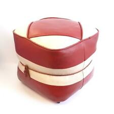 Hamleys Retro Leather Footsool Pouffe Red & White Mid-Century Modern 60s/70s