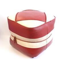 Hamleys Retro Leather Footsool Pouffe Red & White Mid-Century Modern 60s/70s