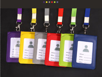 PU Leather Solid Credit Card ID Badge Holder Bus Passes Case Neck Strap Lanyard