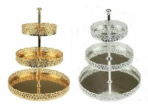 New 3 Tier Gold Silver Plated Metal Cake Stand Paandan Tray Tea Party Tray Stand