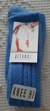 NWT Vintage Gitano Blue Acrylic School Girl Knee High Hi Cable Socks Size 9-11
